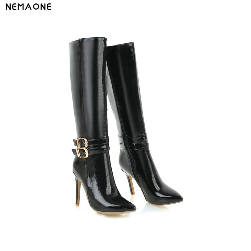 NEMAONE New high heels woman knee high boots ladies autumn winter boots poined toe party dress shoes woman large size 41 42 43 nemaone 8cm high heel knee high women boots ladies shoes party dress wedding shoes woman large size 43 black red blue