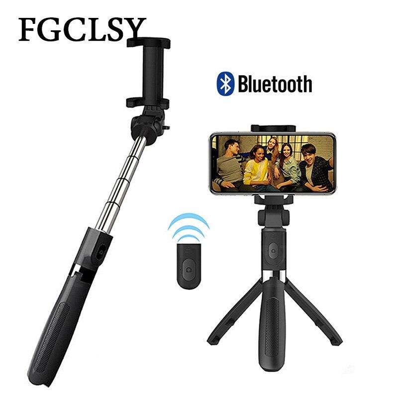 FGCLSY 3 en 1 inalámbrico Bluetooth Selfie Stick para el teléfono móvil Universal soporte de trípode Mini Monopod de mano extensible