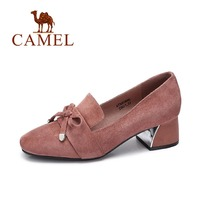 Camel Women S Elegant Square Toe Butterfly Knot Chunky Heels Thin Shoes A73863640