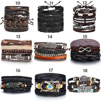 Vintage Leaf Feather Multilayer Leather Braided Bracelet Men Fashion 3