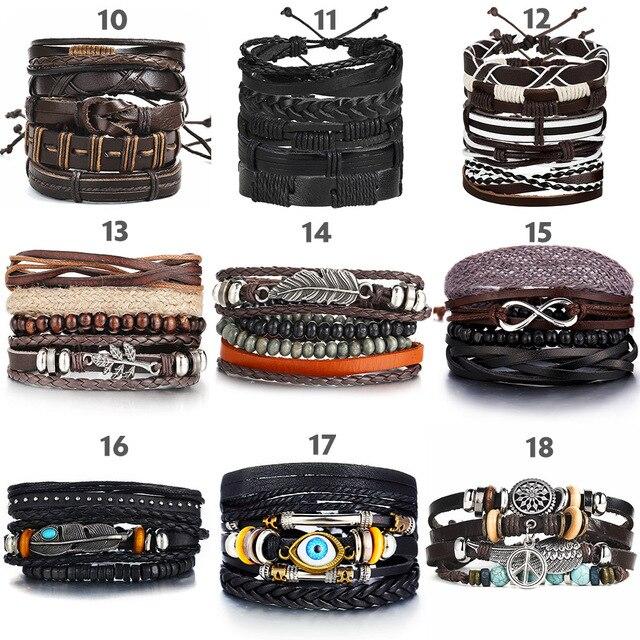 IF ME Vintage Leaf Feather Multilayer Leather Bracelet Men Fashion Braided Handmade Star Rope Wrap Bracelets & Bangles Male Gift 4