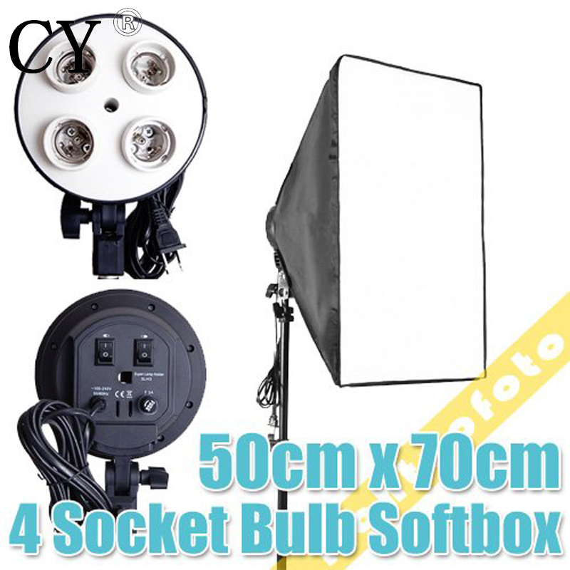Photo Video Studio light 4 Socket Lamp with 20x28/50cm x 70cm Softbox for Digital Photo photography soft box lightbox pscsb4