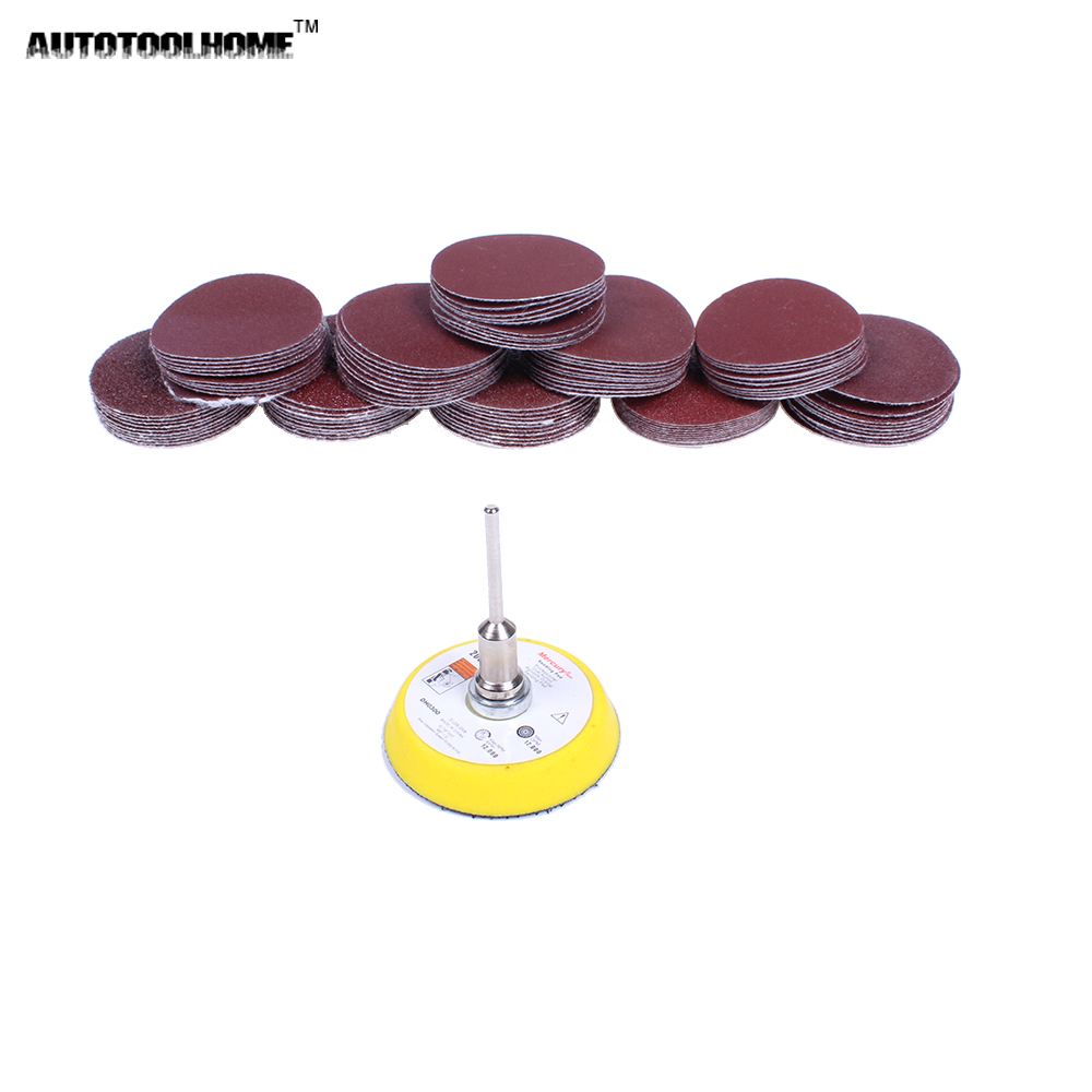 AUTOTOOLHOME 100PC 50mm Sander Disc Sanding Disk 40 400 Grit Paper With 2 Inch Abrasive Polish Pad Plate For Dremel 4000