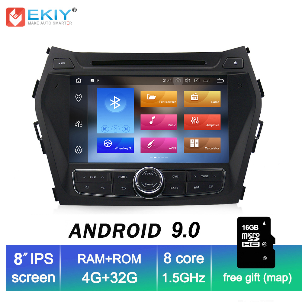 EKIY IPS 2din Android 9.0 Multimídia Carro DVD Player Para Hyundai Santa Fe IX45 Autoradio GPS Navigation Stereo Áudio Música jogador