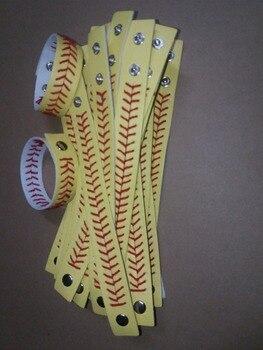 2017 Leather yellow Softball/white Baseball Bracelet