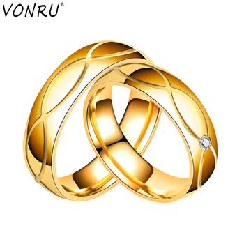Stal nierdzewna stalowe pierścienie dla kobiet mężczyzn kryształowe pary pierścionki dla zakochanych złotych obrączek biżuteria na przyjęcie zaręczynowe Aneis bułgaria tanie i dobre opinie VONRU Ze stali nierdzewnej Metal Ślub Napięcie ustawianie Decoration Moda TRENDY Wszystko kompatybilny Zespoły weselne
