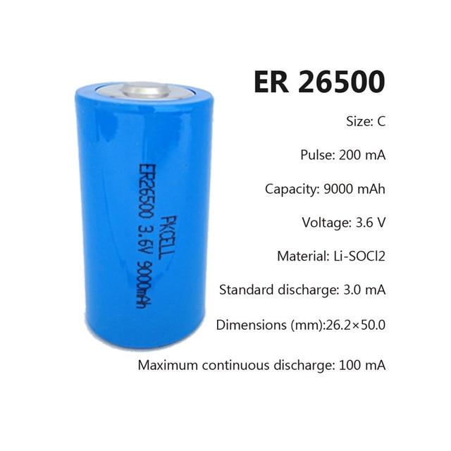 1 pces pkcell 3.6 v er26500 c tamanho Li-SOCl2 bateria com 9000 mah capacidade para o medidor de cartão inteligente superior baterias lr14 r14p