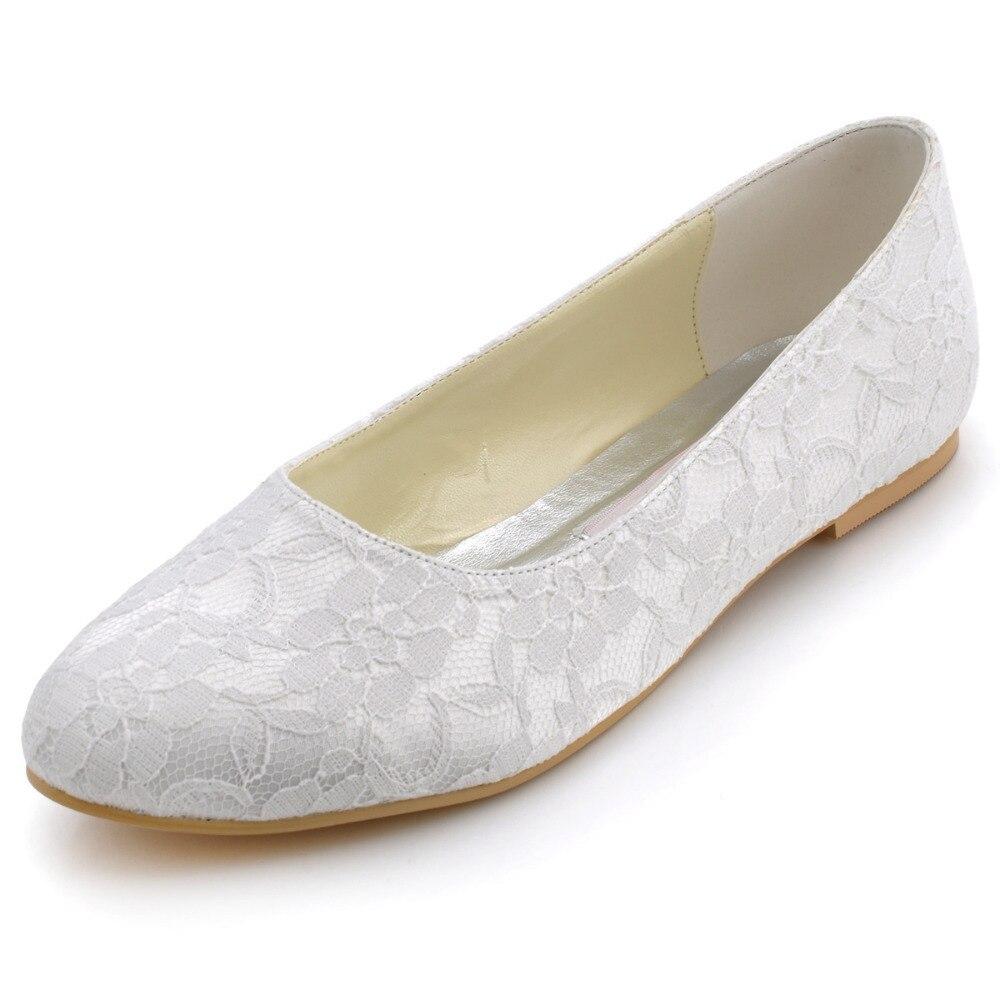 Zapatos de mujer Pisos Confort Punta Redonda de Encaje Blanco Novia ballerina fl