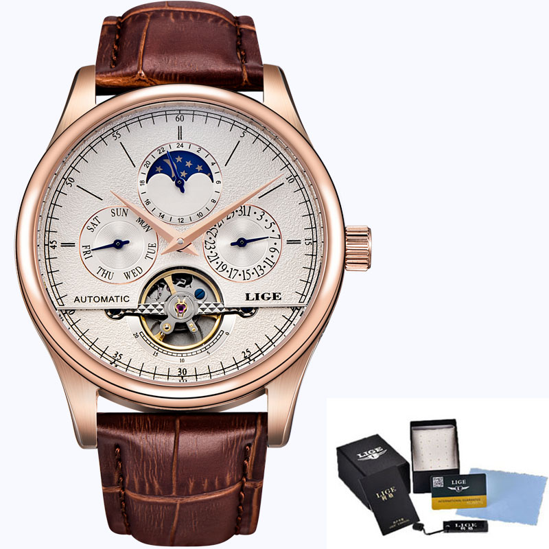LIGE Brand Men Watches Automatic Mechanical Watch Tourbillon Sport Clock Leather Casual Business Wrist Watch Gold Relojes Hombre in Mechanical Watches from Watches