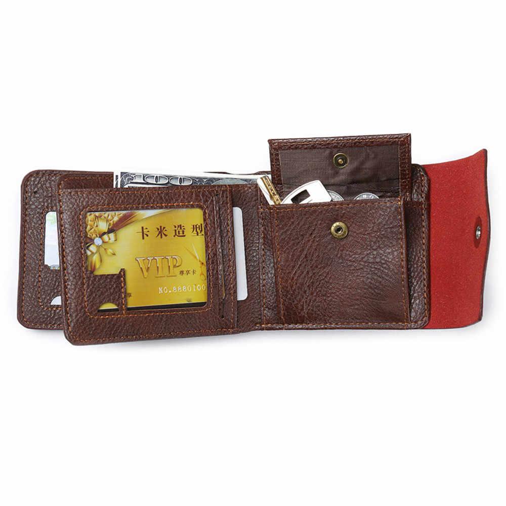 Роскошные Известный брендовая Дизайнерская обувь портфель Малый Короткие кожаные для мужчин бумажник мужской портмоне Cuzdan держатель для карт Walet