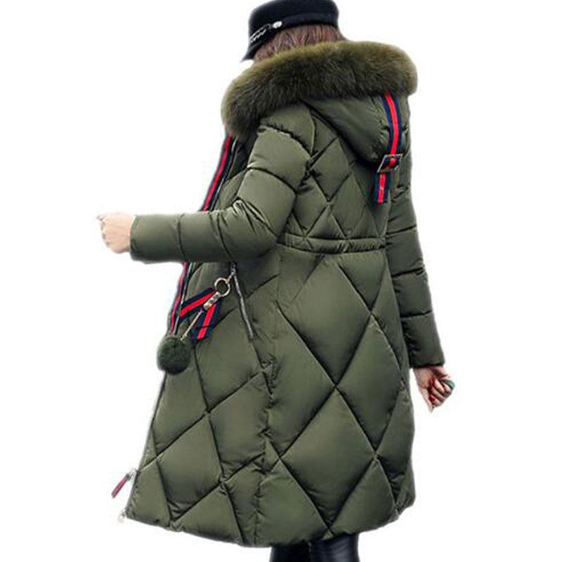 1PC 2018 winter hooded coat women fur collar thicken warm long jacket female slim outerwear   parka   ladies chaqueta feminino Z4287
