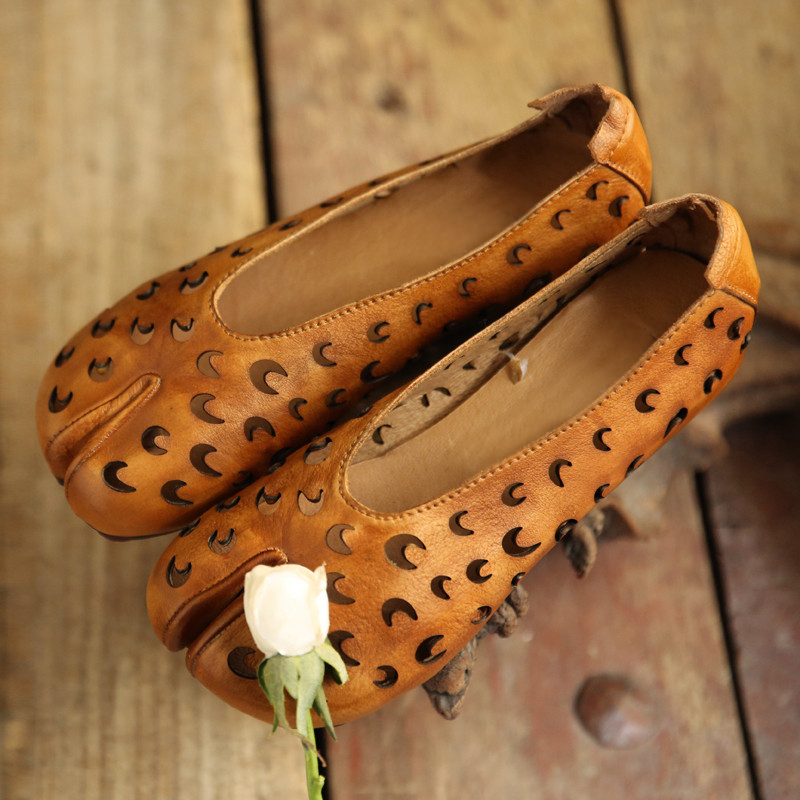Artdiya 2019 Genuine Leather Women Shoes Hollow Out Handmade Flat Retro Increased Shoes 2028-61