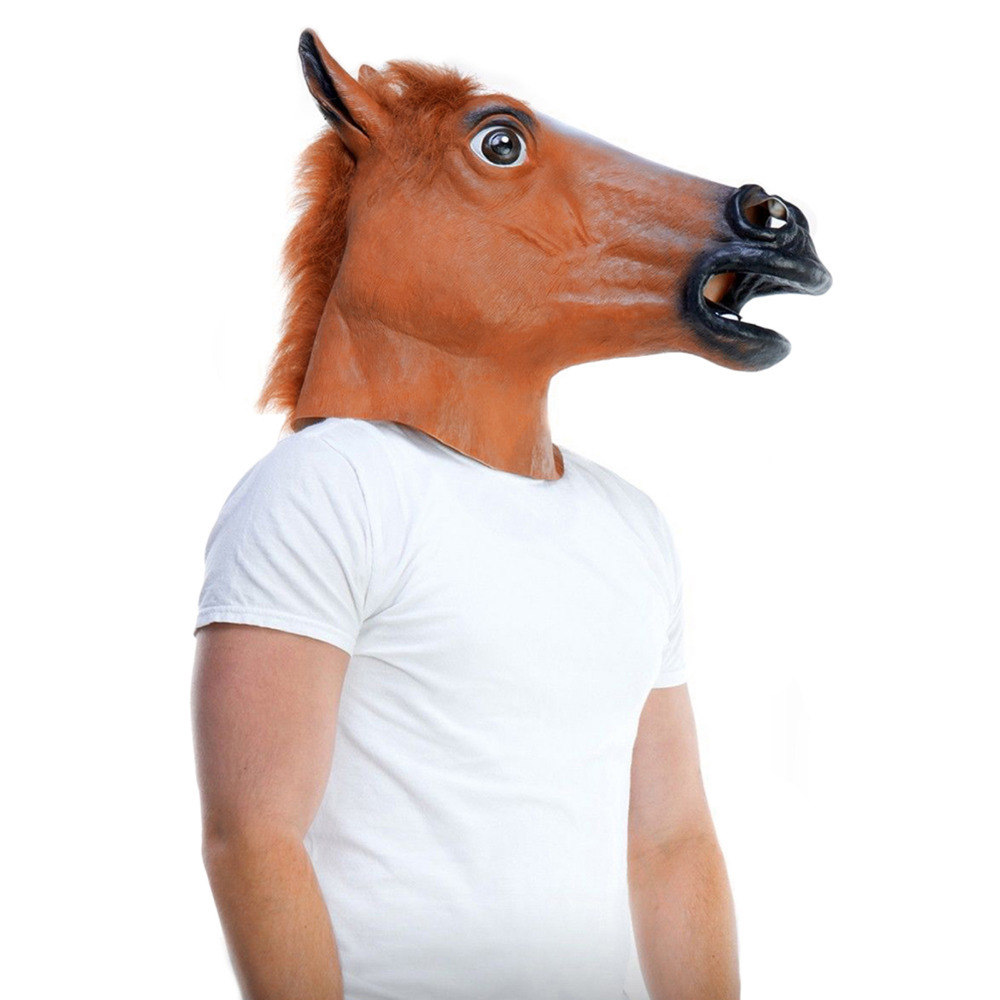 Horse Head Mask Halloween Costume Party Theater Prop Novelty Latex ...