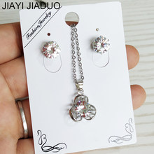 jiayijiaduo Wedding Jewelry Set Women's Jewelry Fashion Cute Pendant Zircon Earrings Stainless Steel Necklace White Color(China)