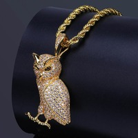 UWIN OWL Pendant Tongue Copper Plus AAA Cubic Zirconia Gold Palted Trendy Rock Punk Hip Hop Necklace Men Jewelry