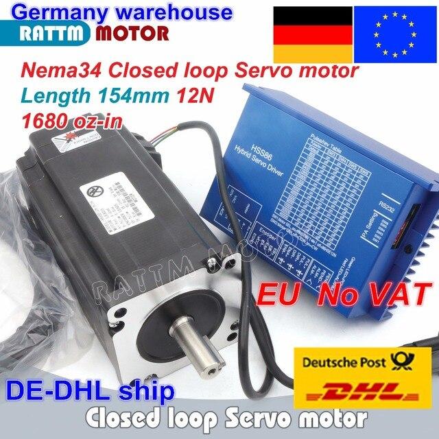 1 ชุด Nema34 ปิด LOOP 12N.M Servo มอเตอร์ Stepper มอเตอร์ 6A 154 มม.และ HSS86 HYBRID Step Servo DRIVER 8A CNC Controller Kit