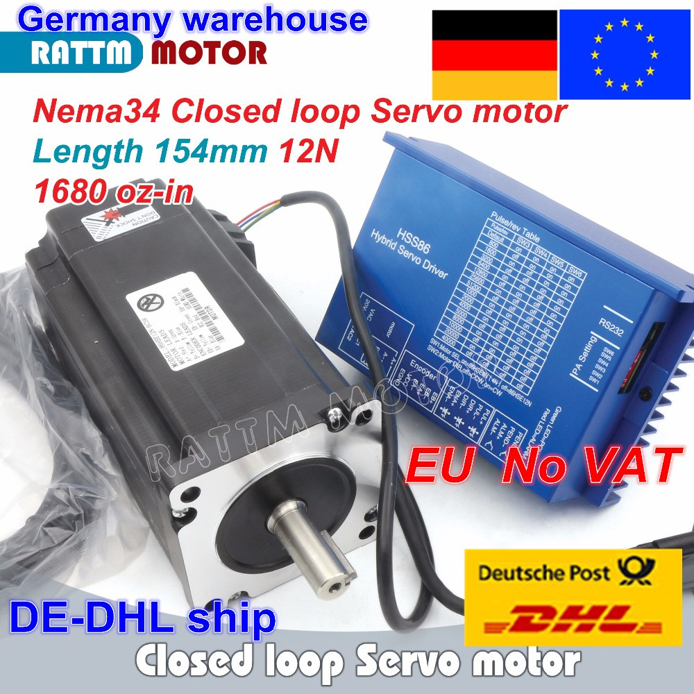 1 Set Nema34 Closed Loop 12N.m Servo Motor Stepper Motor 6A 154mm & HSS86 Hybrid Step-servo Driver 8A CNC Controller Kit