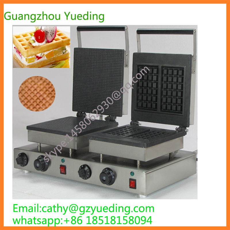 China supplier stainless steel commercial rectangle cone maker and 2 pieces  rectangle waffle maker