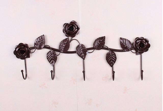 Rustic Decorative Wall Hooks Wrought Iron Traceless Metal Hook ...