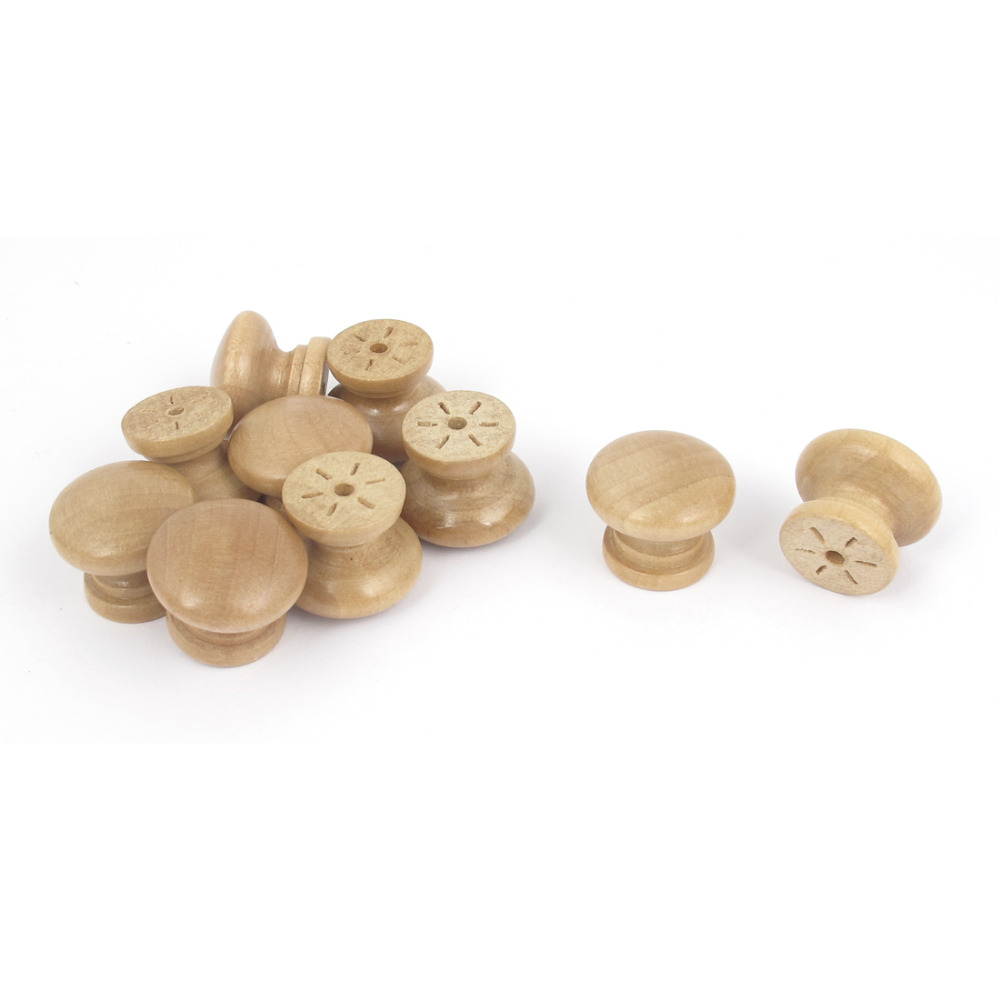 Uxcell 10Pcs Cabinet Drawer Cupboard Closet Door Wooden Pull Knob Handle for Cabinet, Bin, Wardrobe etc   Hot Sale