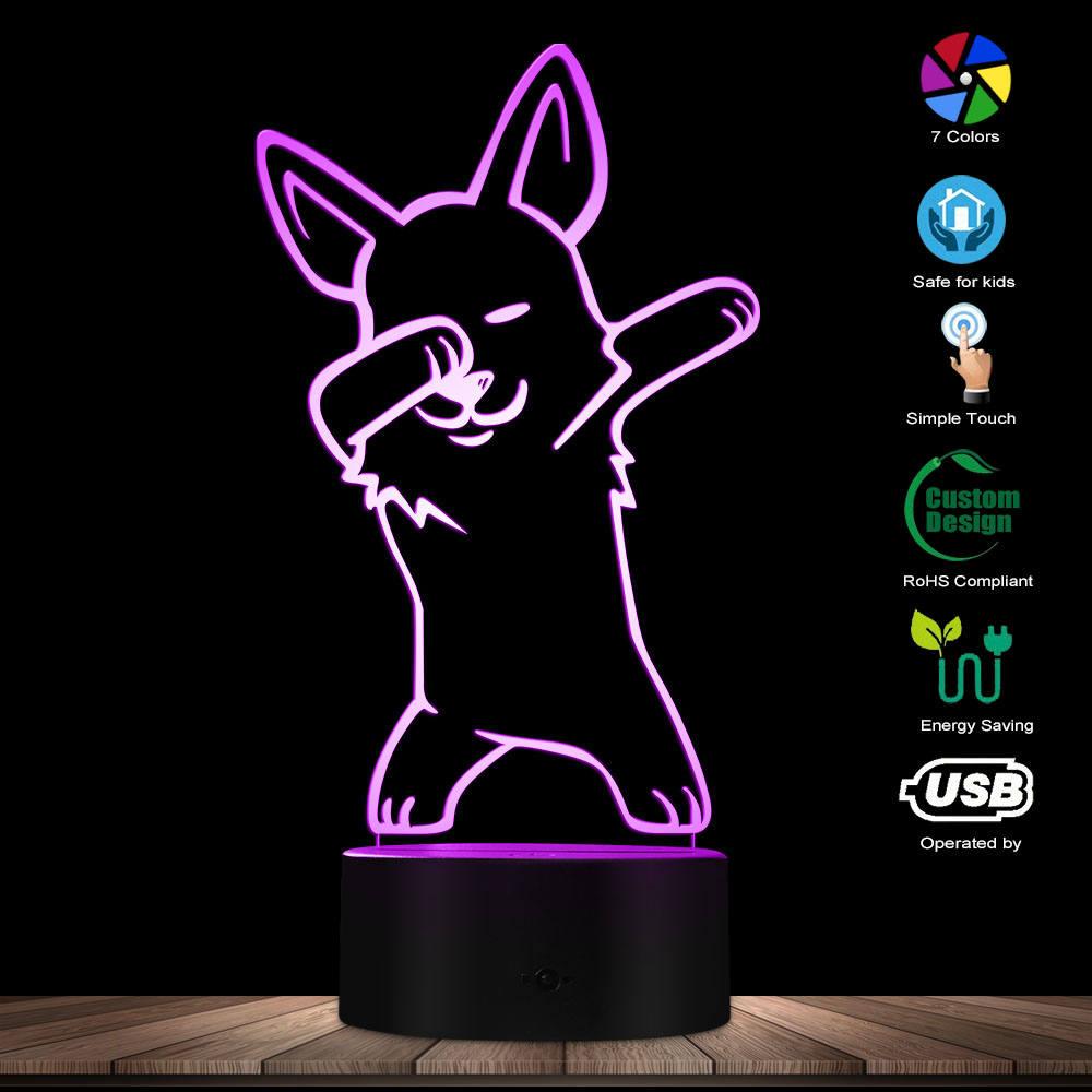 Adorable Christmas Corgi LED Night Lamp with Custom Dog Name Kid Room Bedroom Decor USB Sleepy Light Welsh Corgi Lovers Gift