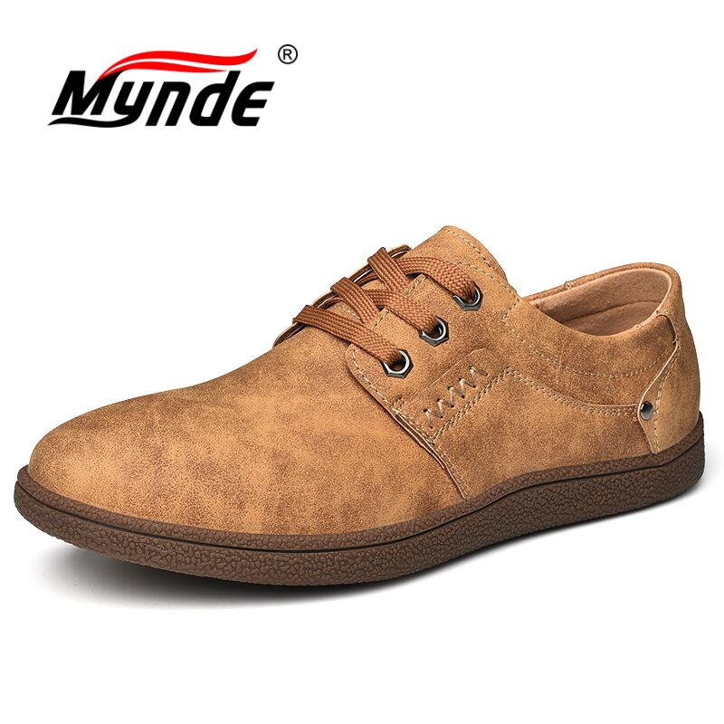 MYNDE 2018 New Comfortable Lace-Up Casual Shoes Loafers Men Shoes Quality Split Leather Shoes Men Flats Hot Sale Moccasins Shoes bexzxed new brand fashion comfortable men shoes lace up solid leather shoes men causal huarache shoes hot sale
