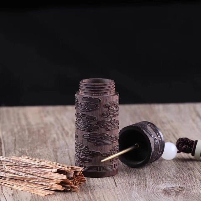 COSY MOMENT пустая бутылка из черного дерева с мини-металлической иглой, резной футляр для зубочисток, контейнер для пули YJ528