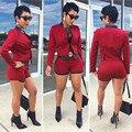 2016 Senhora Da Forma 2 Peça Definir Cardigan Blazer + Shorts mulheres Fino Terno Jaqueta Casaco Blazer de Manga Comprida Básica feminino blaser