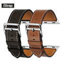 Istrap negro marrón correa de reloj de pulsera de cuero genuino del becerro solo tour de francia para iwatch apple watch band 38mm 42mm
