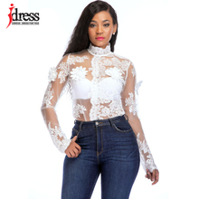 IDress Sexy Mesh Bodysuit Black White 3D Flower Embroidery Lace Skinny Jumpsuit for Women 2018 New Autumn Long Sleeve Bodysuit