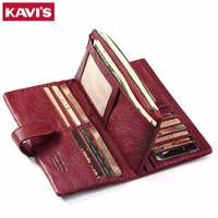 KAVIS Genuine Leather Women Wallet Female And Coin Purses Handy Clutch Lady Long Card Holder Walet