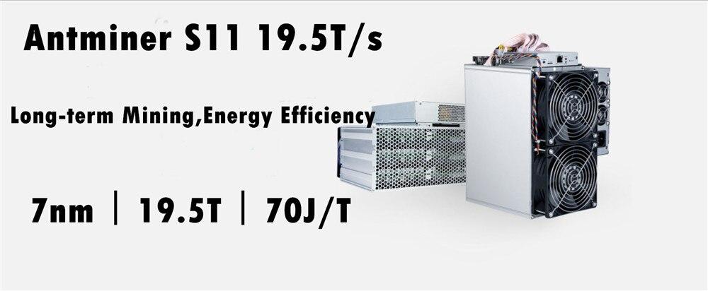 Mais novo BCH SHA-256 Mineiro BTC Asic AntMiner S11 19.5 T Com PSU Bitcoin Miner Better Than S9 S9i S9j T15 s15 Z9 WhatsMiner M3 M10