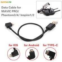 1 pc Cabo de Dados Linha de Dados USB para Iphone IOS Android TYPE-C Porta para DJI Fantasma MAVIC PRO AR 4 3 Acessórios Inspire 1/2 Zangão
