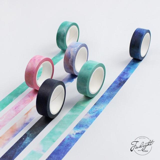 1.5 cm * 7 M O Fantástico Sonho Cor Fita Washi Decorativo DIY Ofício Scrapbooking Mascaramento Fita Escola Material de Escritório
