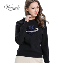 2019 Halajuku Viscose blend Planet Sequined Beading Pullover Sweater Slim Fitted Pull Femme Causal Long Sleeve Female Tops C-375