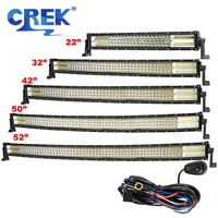 CREK 22/32/42/50/52 Quad Row Curved LED Light Bar Truck LED Bar 4WD Bar For Car Boat 4WD 4x4 SUV ATV Jeep Offroad Vehicles
