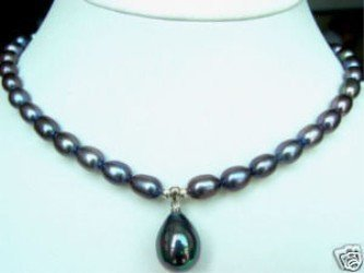 "Wholesales Jewelry fine black freshwater pearl shell Pendant necklace 18"" Free gift free shipping"