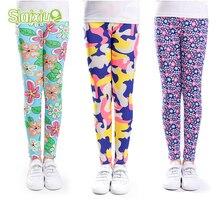 SLAIXIU леггинсы для девочек узкие брюки до щиколотки с цветочным принтом классические леггинсы для девочек-подростков От 2 до 13 лет детские брюки для маленьких девочек