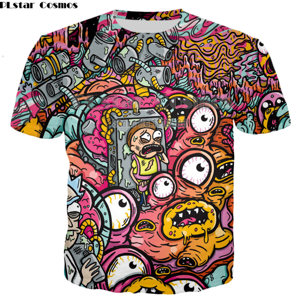 Drop shipping 2018 summer new style   T  -  shirt   cartoon Rick and Morty 3d Print tshirt Men Women casual   t     shirt   Plus Size XS-7XL