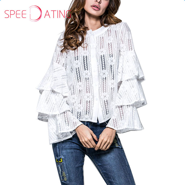 New Flounce See Through Blouses Bell Sleeve Layers White Long Sleeve