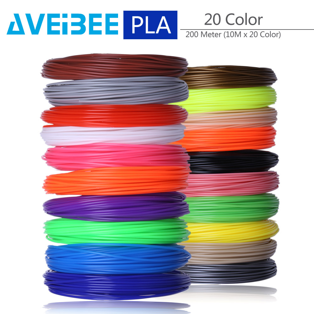 200 Meter 20 Color Set 3D Pen Filament PLA 1 75mm Plastic Rubber Printing Material For 3 D Printer Pen Refills Brithday Gift in 3D Printing Materials from Computer Office
