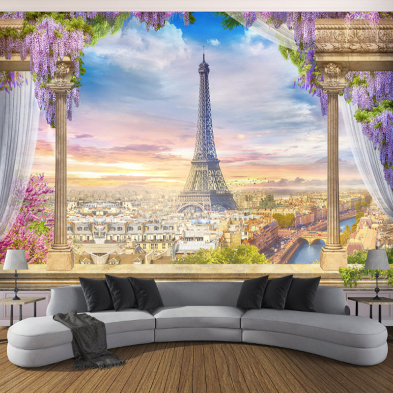 European Style Wallpapers 3D Flowers Tree Wall Murals Nature Landscape Photo Eiffel Tower Walls Paper for Living Room Home Decor japanese style wallpapers for living room 3d flooring wood wall paper pvc living walls wallpapers roll 3d wall murals wallpaper