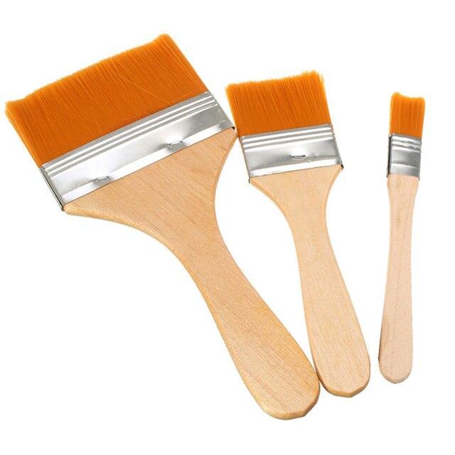 3 unids/set mango de madera pelo de nailon área grande cepillado arte pintura al óleo pintura de acuarela arte suministro brochas herramientas