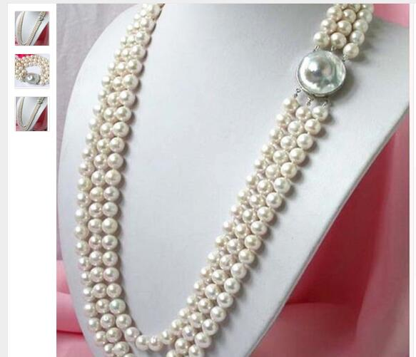 Women Gift Freshwater 3 rows 8-9mm natural white freshwater cultured pearl necklace round beads jewelry for mother women best gi
