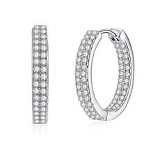 Круглый полный циркон камень Модный тренд женский S925 стерлингового серебра серьги-кольца для женщин Свадебные украшения