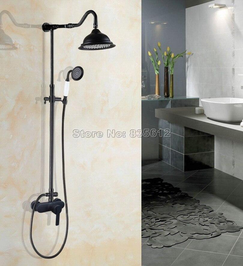 Rain Shower Faucet Set Black Oil Rubbed Bronze Bathroom Wall Mounted Single Handle Dual Control Mixer Tap Whg657