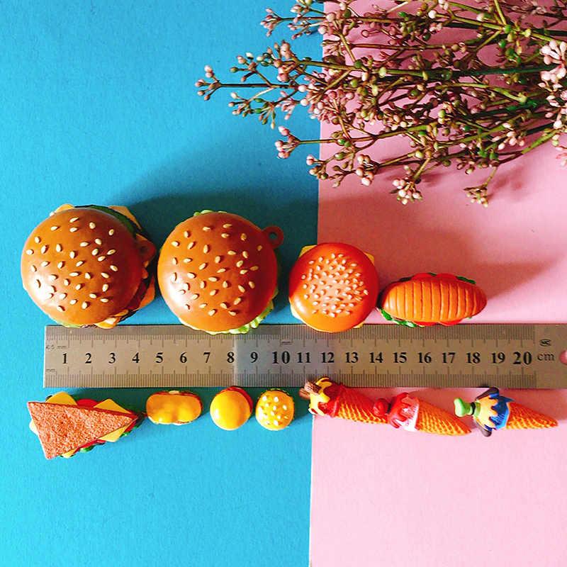 pan with egg/miniatures cookie bread hamburger/cute/fairy garden gnome/moss terrarium decor/bonsai/figurine/doll house decor