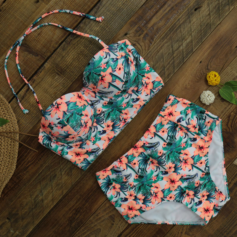 2017 High Waist Bikinis Women Swimsuit Plus Size Swimwear Bathing Suits Retro Floral Push Up Bikini Set Beach Wear chinese style swimsuit large scalloped floral bikinis cover belly thin waist gather steel support small chest spa swimwear