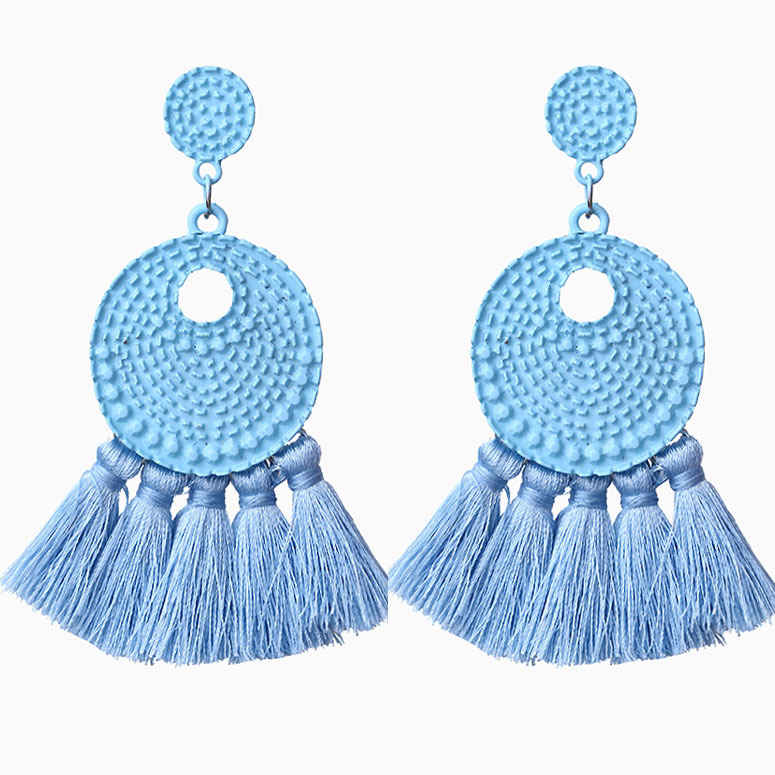 Fashion bohemian tassel earrings retro pendant earrings new personality exaggerated big earrings wedding gift 2019 in Drop Earrings from Jewelry Accessories