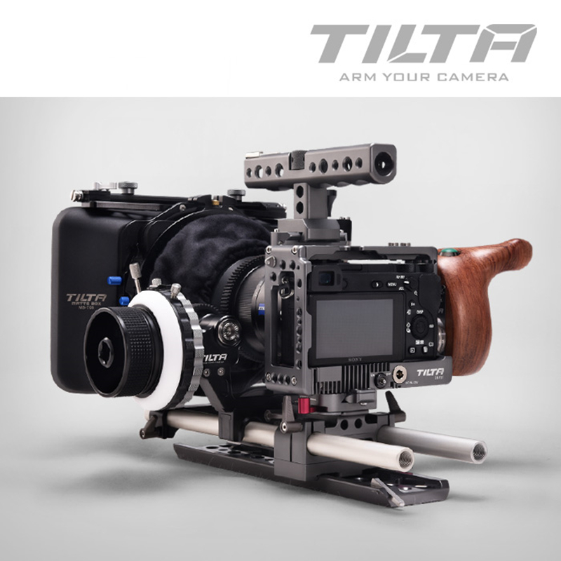 TILTA A6 Rig for Sony A6 A6000 A6300 A6500 Camera 15MM Rod Cage FF-T03 Follow focus 4*4 Matte box NEW Wooden handle ES-T27C viltrox 15mm rod rig dslr video cage kit stabilizer handle grip follow focus for sony a7ii a7r a7s a6300 panasonic gh4 m5